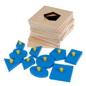 Montessori Spielzeug Holz Geometrische Figur Geform Holzpuzzles Motorikwürfel