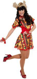 O9426-34-36 rot-bunt Damen Mexico Kleid  Mexikaner Kostüm Gr.34-36