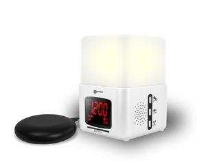 Geemarc Wake'n shake LIGHT - Laut einstellbarer Lichtwecker 90 dB mit Vibrationskissen, künstlichem Sonnenaufgang, automatisches Abschalten, Naturklängen, Radio, Mp3