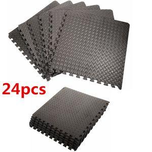 24x EVA Schutzmatten Schutzmattenset Bodenschutzmatten Fitnessschutzmatten Trainingsmatten Unterlegmatten Sets in Blattmuster schwarz 60x60cm