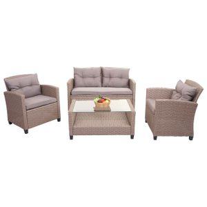 XXL Poly-Rattan Garnitur HWC-F10, Balkon-/Garten-/Lounge-Set Sitzgruppe, Sofa Sessel mit Kissen Spun Poly  grau-braun