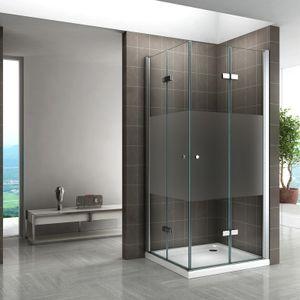 i-flair Duschkabine 90x90 cm, HÖHE: 180 cm, teilsatinierte Falttür Eckdusche aus stabilem ESG Sicherheitsglas #99