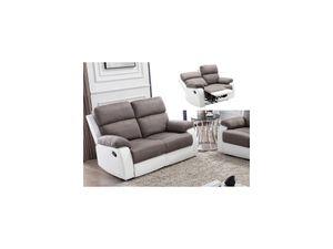 Relaxsofa 2-Sitzer TOLZANO - Microfaser & Kunstleder - Grau & Weiß