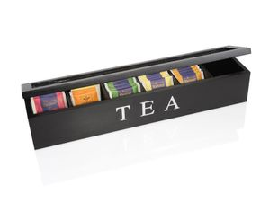 Teebox aus Holz 6 Fächer Teekiste Teedose Sicht Fenster Tee Dose Kiste 43 x 9 cm