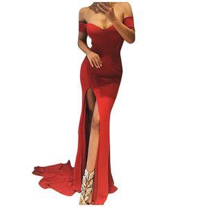 Mode Frauen lässig sexy einfarbig Schulter V-Ausschnitt Partykleid Größe:M,Farbe:Rot