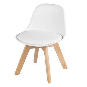 WOLTU Kinderstuhl mit Holzbeinen Sitzhöhe 33cm, Stabile Kinder Stühle mit Rückenlehne für Kinderzimmer, PP+PU Weiß
