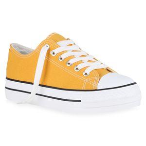 Mytrendshoe Damen Plateau Sneaker Turnschuhe Schnürer Basic Plateauschuhe 825894, Farbe: Gelb, Größe: 37