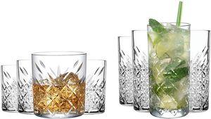 Pasabahce Glas Kristall 4x Whisky Gläser (250ml) und 4x Longdrink Gläser (250ml) als Set   für einen wunderbaren Cocktail Abend – Spülmaschinenfest