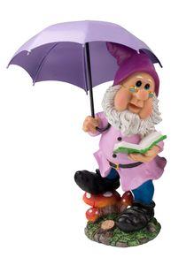 Gartenzwerg mit Schirm Lila Gartenfigur 38,5 cm Gnom Zwerg
