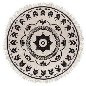 Dekorativer Teppich im Boho Stil, weiß und schwarz, Ø 120 cm - Atmosphera