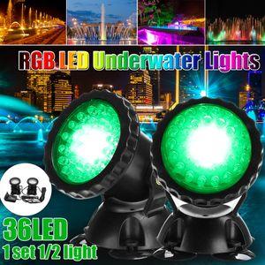2X RGB LED Unterwasserstrahler Teichlampen Schwimmbad Brunnen Beleuchtung ohne Fernbedienung