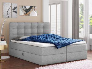 Boxspringbett Best mit 2 Bettkästen, Doppelbett mit Bonell-Matratze und Topper, Polsterbett, Bett (Grau (Inari 91), 160 x 200 cm)