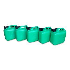 5 x 10 Liter 10 L Dieselkanister Benzinkanister Kraftstoffkanister UN-Zulassung grün inkl. Ausgießer (5x10 KK grün)