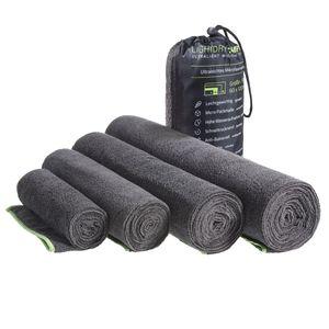 LightDRY Mikrofaser Handtuch Reisehandtuch für Sport und Trekking, Extra saugfähig & antibakteriell - Dunkelgrau - 40x80cm
