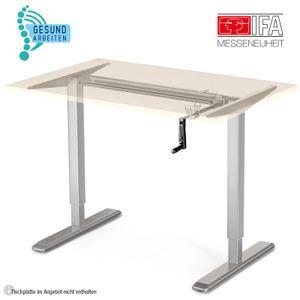 Deskfit Ergonomisch Höhenverstellbarer Schreibtisch, manuelles 2fach Teleskop Tischgestell DF100 Farbe Silber, Kurbel klappbar, stufenlos verstellbar, für Jede gängige Tischplatte – Einfache Montage