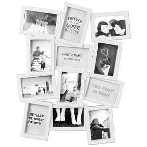 Fotogalerie für 12 Fotos 10x15cm / 49x62x2cm / in 2 Farben, Farbe:Weiß
