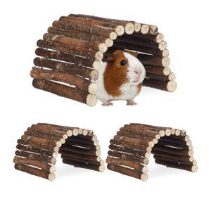 relaxdays 3x Nagerbrücke Holz für Hamster und Kaninchen Kletterbrücke Kleintiertreppe