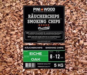 PINI 5 Kg Räucherchips Eiche 8-12 mm Smoking Chips Räucherspäne