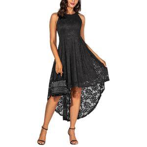 Damen Neckholder-Spitze Häkelkleid Mittellanges Abendkleid mit Schwalbenschwanz