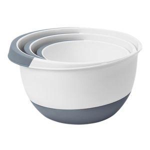 Rührschüsseln 3er-Set Salatschüssel Servierschüssel Teigschüssel Backschüssel, Farbe:grau