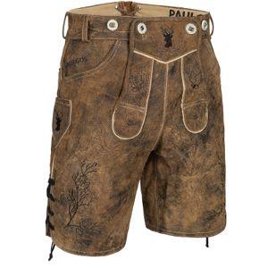 PAULGOS Herren Trachten Lederhose kurz - HK3 ANTIK - Echtes Leder - in 3 Farben erhältlich - Größe 44 - 60, Farbe:Whiskybraun, Größe:50