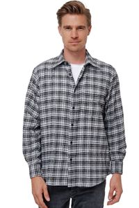 Herren Flanell Hemd Freizeithemd Kariert Langarm Holzfäller Herrenshirt Vintage, Farben:Grau, Größe Hemd:L