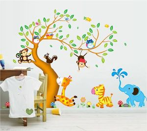 Cartoon glücklich Tier Baum mit Eule Affen Zebra Giraffe Wandsticker, Babyzimmer Kinderzimmer Entfernbare Wandtattoos Wandbilder