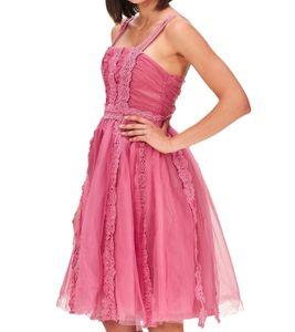 TRUE DECADENCE Cocktail-Kleid tailliert geschnittenes Damen Kleid mit Tüllrock Pink, Größe:42