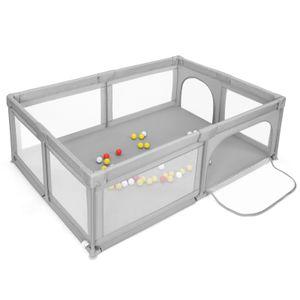 COSTWAY Baby Laufstall mit 50 Bällen & 2 Türen, Laufgitter mit atmungsaktivem Netz und Reißverschluss, Krabbelgitter, Laufgitterzelt für Säuglinge und Kleinkinder (Grau)