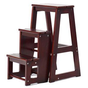 COSTWAY Leiterstuhl Tritthocker Trittstuhl Trittleiter Haushaltsleiter Hockerleiter, aus Massivholz, klappbar, 3 Stufen Braun