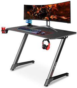 Dripex Gaming Tisch, Schreibtisch Gaming mit Großer Oberfläche, Z-förmiges Tischbein und Kohlefaser-Desktop, mit Getränke-, Gamepad- und Kopfhörerhalter, 110x75x60cm, Schwarz