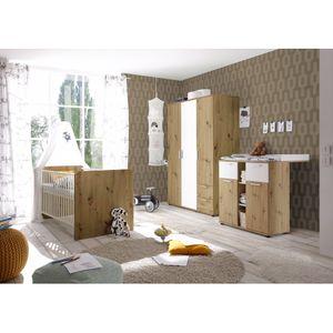 3 tlg. Babyzimmer Kinderzimmer Jugendzimmer 87-332-T2 BIBO Artisan Eiche Nb. / weiß