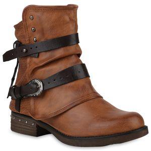 Mytrendshoe Damen Stiefeletten Biker Boots Leicht Gefütterte Booties Schnallen 818828, Farbe: Braun, Größe: 39