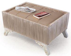 Casa Padrino Luxus Barock Beistelltisch Beige / Weiß / Gold 91 x 63 x H. 42 cm - Barock Wohnzimmer Möbel