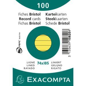 EXACOMPTA Karteikarten DIN A7 liniert gelb 100 Karteikarten