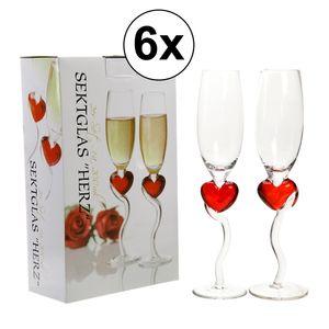 3x Sektgläser Herz in Geschenkbox, 2er Set, 200ml, Hochzeit, Champagnergläser, Standesamt, Liebe, Trauung