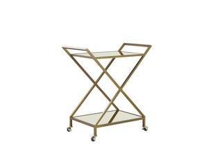 Servierwagen Gold 84 x 78 x 44 cm mit 2 Griffen aus Eisen und 2 Böden aus Spiegelglas Mobil Funktional Wohnzimmer Küche