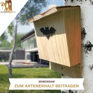 deintierhaus.de© | Fledermaushaus aus Kiefernholz - Nistkasten für Fledermäuse - unbehandelt, fertig montiert & wetterfest - Fledermauskasten zum Aufhängen - Fledermaushöhle, Fledermausnistkasten