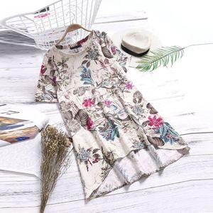 Damen O-Neck Casual Floral Printed Kurzarm Unregelmäßigkeit Vintage Kleid Größe:XXXL,Farbe:Pink
