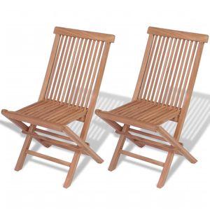 Klappbare Gartenstühle 2 Stk. Massivholz Teak