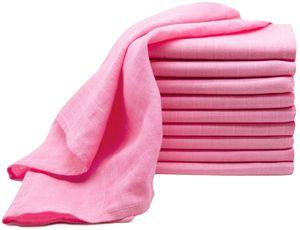 10er Set Spucktücher, Baumwolle, 70x70 cm, rosa