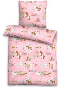 Biberna Linon Bettwäsche für Kinder Ponys 44641-173 rosa 100% Baumwolle , GRÖßENAUSWAHL:100x135 cm + 40x60 cm