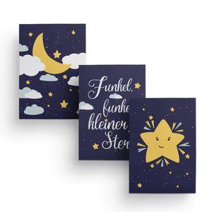 Friendly Fox Kinderzimmer Poster Babyzimmer - 3er Set Wandbilder - DIN A4 - Kinderposter (Mond & Sterne)