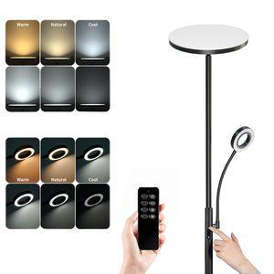 Dimmbar LED Stehlampe Standleuchte, Deckenfluter mit Verstellbare Leselampe, Moderne Stehleuchte mit Tastdimmer