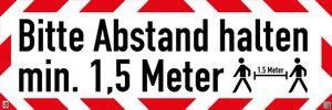 45 x 15 cm Warnschild reflektierend Bitte Abstand halten 1,5m(Klebefolie)