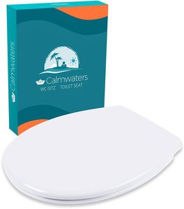Calmwaters® Premium WC Sitz Toilettendeckel antibakteriell,  EU, Klodeckel mit Absenkautomatik, abnehmbar oval, Toilettensitz Duroplast weiß, Edelstahl-Befestigung, WC Deckel & Klo Brille