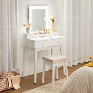 VASAGLE Schminktisch, Frisiertisch mit Spiegel, Set, mit 10 Glühbirnen mit 4 Schubladen, gepolsterter Hocker modern, weiß RDT173W01