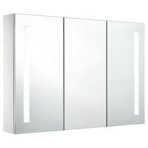 vidaXL LED-Bad-Spiegelschrank 89x14x62 cm