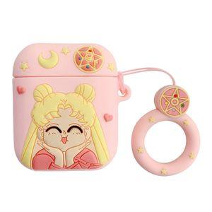 Anime Schutzhülle Cases Süßes Tier Für Air-Pods Cases Sailor Moon Schlüsselanhänger Cartoon Silikon Hülle Schutzhülle für Apple Air-Pods -H01