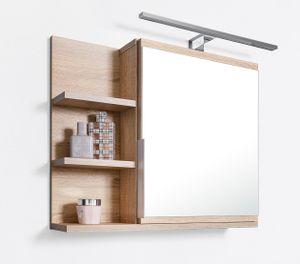 Badezimmer Spiegelschrank mit Ablagen und LED Beleuchtung, Badezimmerspiegel, Eiche Sonoma Spiegelschrank, L